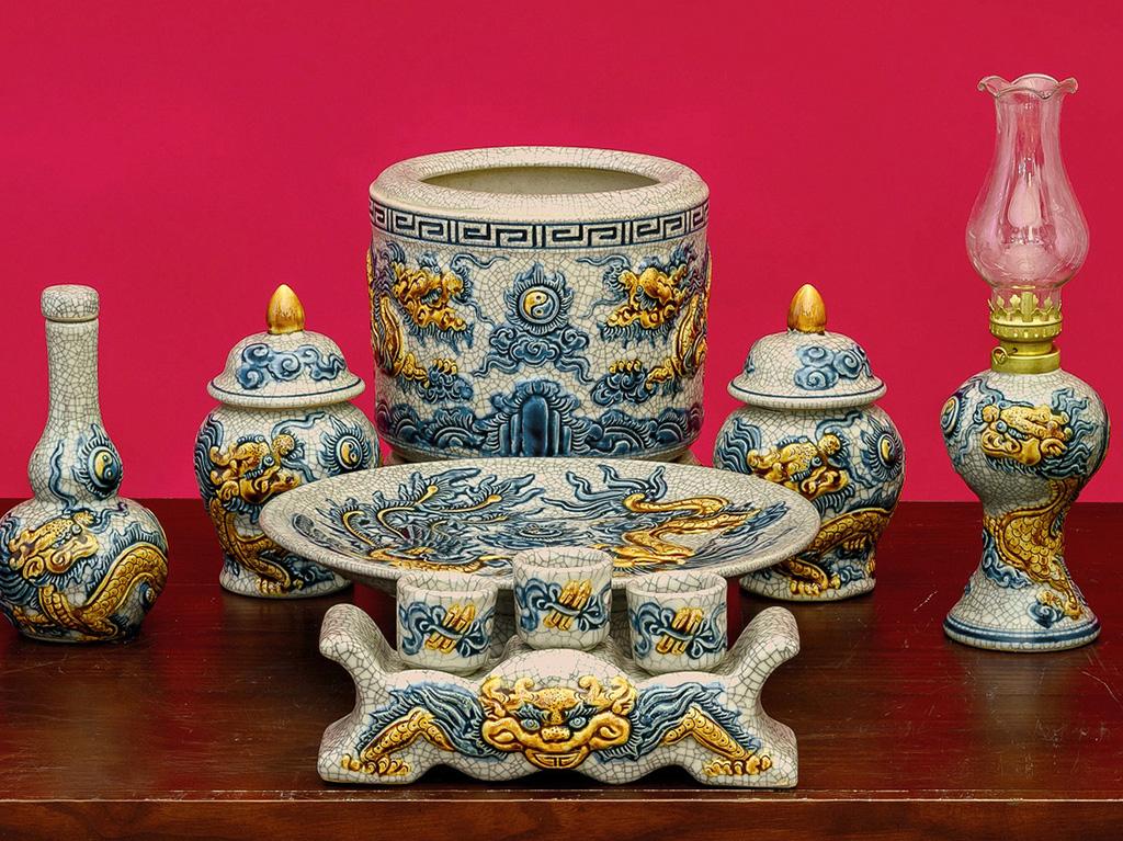 Bộ đồ thờ Bát Tràng men rạn đắp nổi rồng ban thờ 1m27 - 1 bát hương