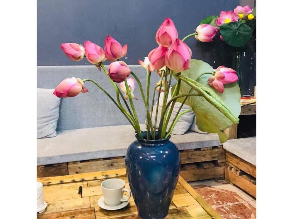 Lọ hoa Bát Tràng men hỏa biến xanh đen kính dáng vò cao s1 - hoa sen