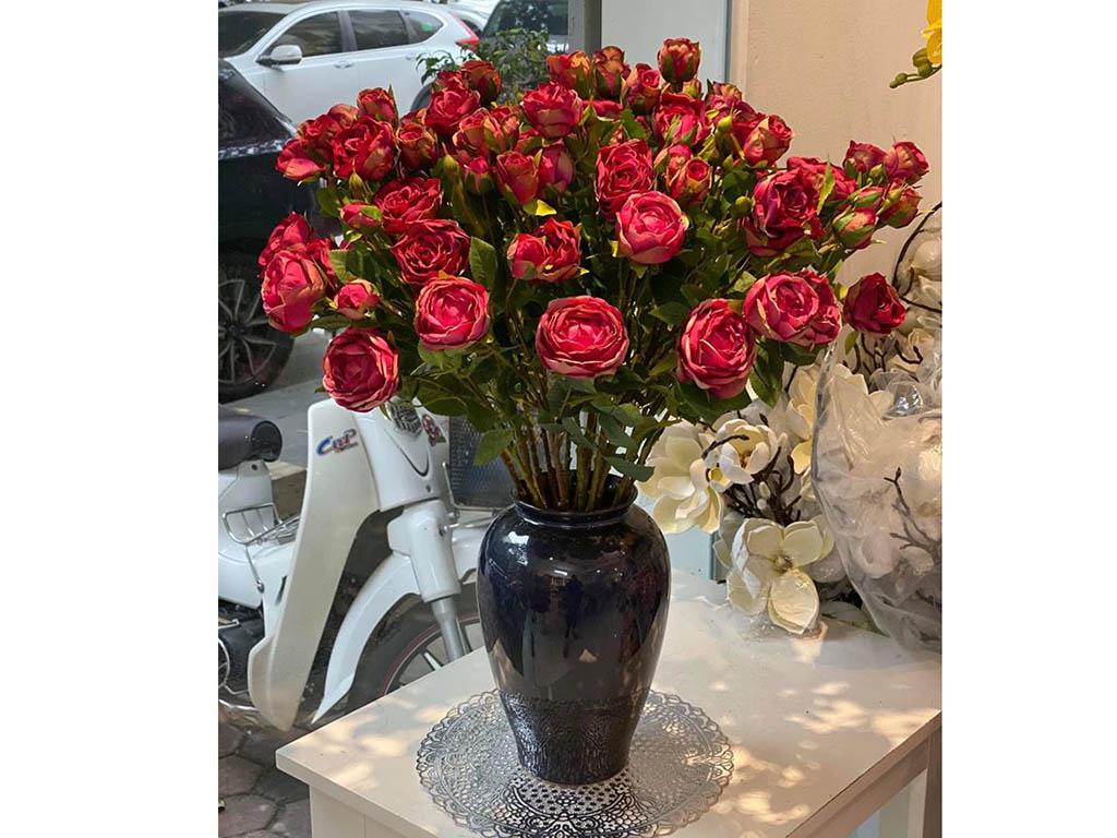 Lọ hoa Bát Tràng men hỏa biến xanh đen kính dáng vò cao s1 - hồng