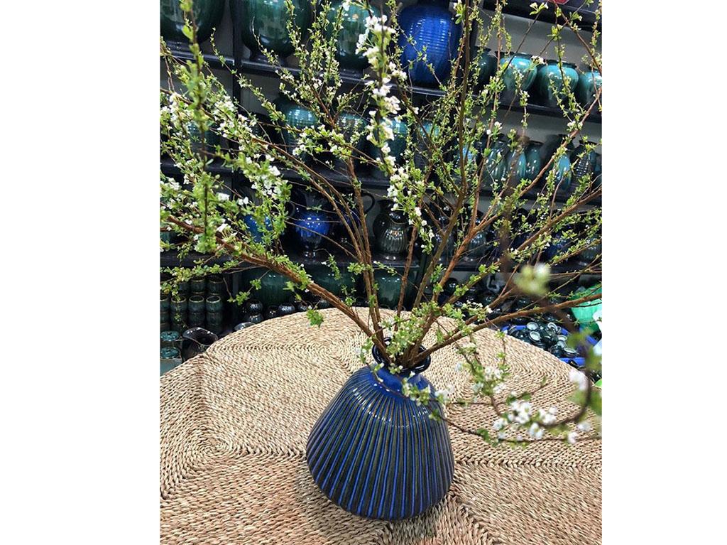 Lọ hoa Bát Tràng men hỏa biến xanh biển dáng giỏ cua khía