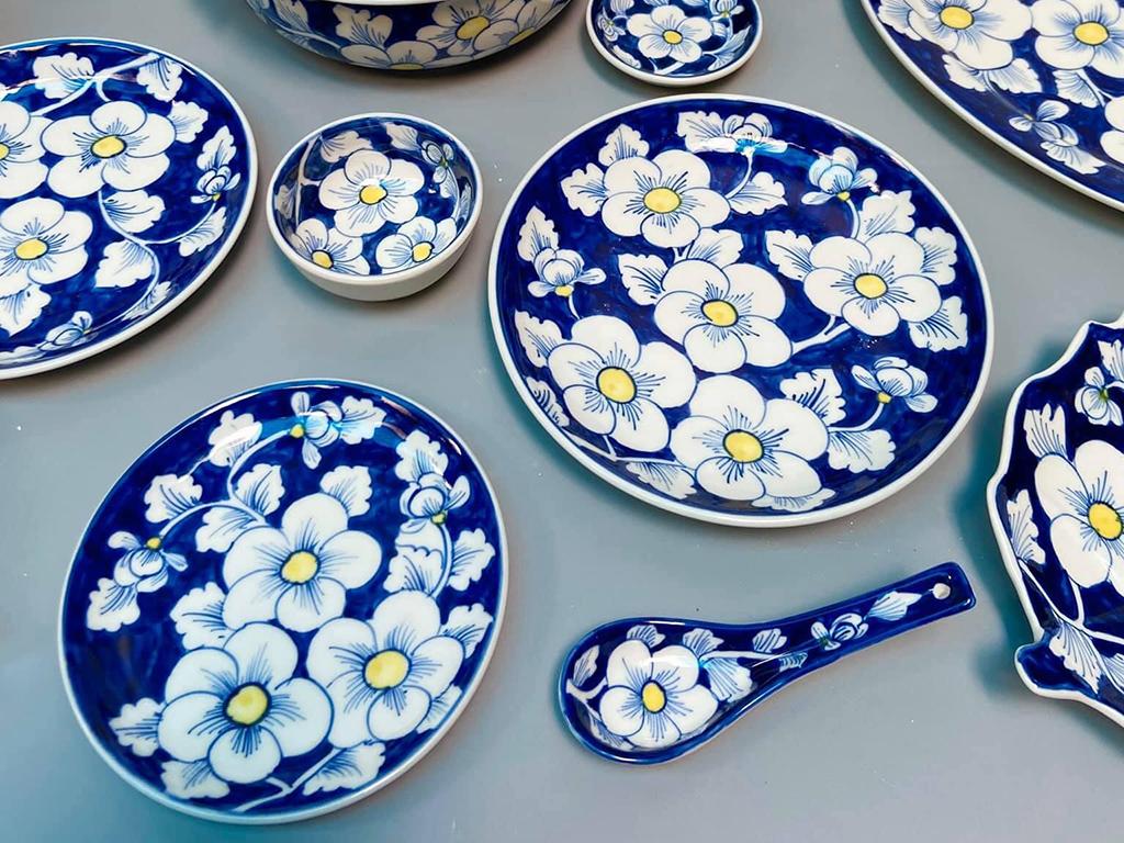 Bộ bát đĩa Bát Tràng vẽ hoa sao băng mai xanh 6 người ăn ảnh 1