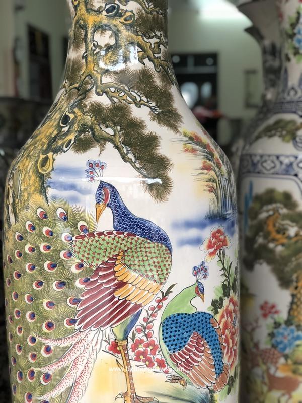 Lọ lộc bình Bát Tràng men màu Phú Quý Mãn Đường vẽ kỹ 1m6 - chim công
