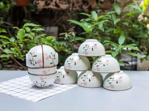 Bộ 10 bát ăn cơm Bát Tràng men kem vẽ đào hồng