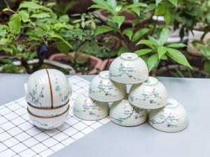 Bộ 10 bát ăn cơm Bát Tràng men kem vẽ đào xanh