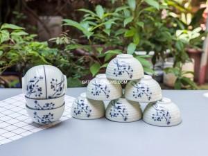 Bộ 10 bát ăn cơm Bát Tràng men kem vẽ sen lam
