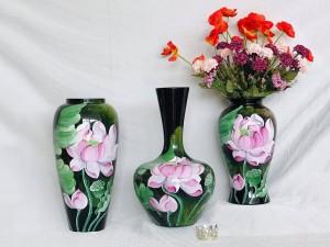 Bộ 3 lọ hoa sơn mài decor vẽ hoa sen hồng