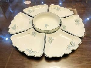 Bộ bát đĩa thắp hương hoa mặt trời mâm cúng gia tiên sen xanh