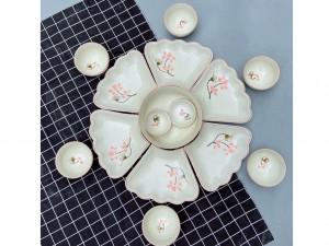 Bộ bát đĩa Bát Tràng hoa mặt trời mâm cúng gia tiên vẽ sen hồng