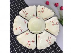 Bộ bát đĩa Bát Tràng hoa mặt trời vẽ đào đỏ
