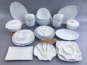 Bộ bát đĩa sứ Bát Tràng men trắng đầy đủ