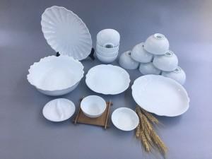 Bộ bát đĩa sứ Bát Tràng men trắng TABDT02