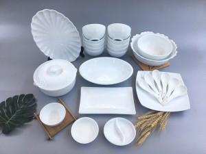 Bộ bát đĩa sứ Bát Tràng men trắng TABDT03