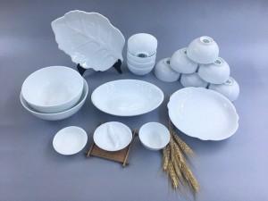 Bộ bát đĩa sứ Bát Tràng men trắng TABDT05