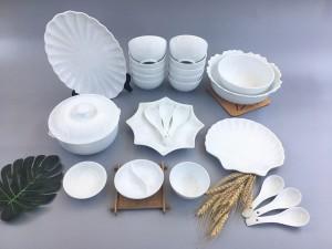 Bộ bát đĩa sứ Bát Tràng men trắng TABDT08