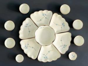 Bộ bát đĩa thờ cúng gia tiên vẽ hoa đào xanh cỡ nhỏ