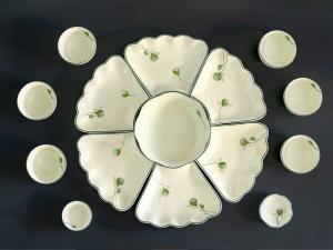Bộ bát đĩa thờ cúng gia tiên vẽ nhụy sen nhỏ
