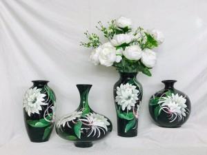 Bộ lọ hoa sơn mài decor vẽ hoa quỳnh
