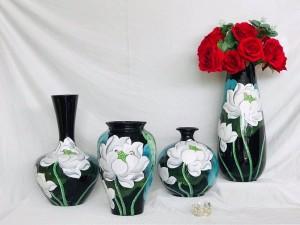 Bộ lọ hoa sơn mài decor vẽ hoa sen trắng