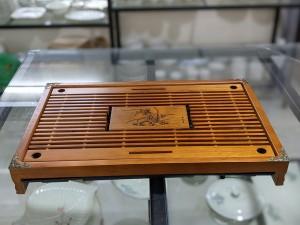 Khay trà tre vàng giả gỗ bịt đồng