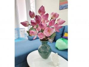 Lọ hoa Bát Tràng men hỏa biến xanh ngọc bích dáng giỏ cua s1