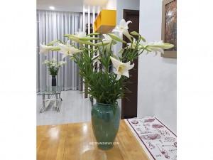Lọ hoa Bát Tràng men hỏa biến xanh ngọc bích dáng vò cao s1