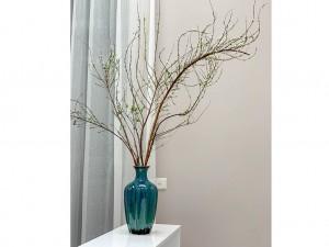Lọ hoa Bát Tràng men hỏa biến xanh ngọc dáng múi khế