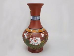 Lọ hoa gốm Bát Tràng dáng tỏi chân cao