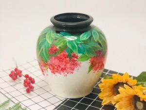 Lọ hoa sơn mài Bát Tràng vẽ cẩm tú cầu ngược dáng vò miệng nhỏ 25cm