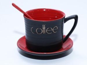 Ly tách cốc uống cafe gốm sứ men đen lòng đỏ