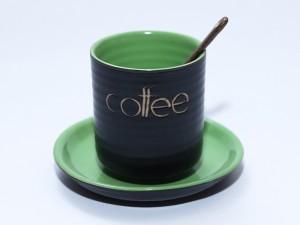 Ly tách cốc uống cafe gốm sứ men đen lòng xanh