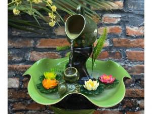 Thác nước phong thủy dáng bát thả hoa cốc 45x80cm