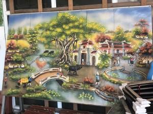 Tranh gốm ốp tường cảnh Làng Quê Việt Nam