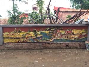Tranh gốm ốp tường cảnh Làng Quê