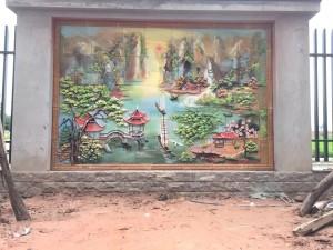Tranh gốm ốp tường cảnh Sơn thủy hữu tình