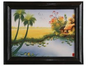 Tranh sứ Bát Tràng vẽ cảnh đồng quê 6 25x30cm