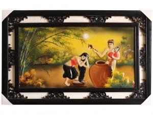 Tranh sứ Bát Tràng vẽ cảnh gia đình hạnh phúc 95x55cm