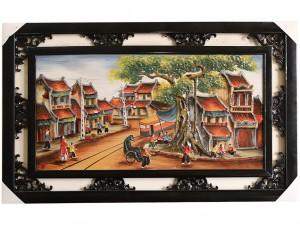 Tranh sứ Bát Tràng vẽ cảnh phố cổ Hà Nội 95x55cm