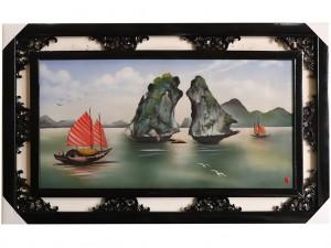 Tranh sứ Bát Tràng vẽ cảnh vịnh Hạ Long 95x55cm