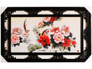 Tranh sứ Bát Tràng vẽ chim trĩ hoa phù dung 95x55cm