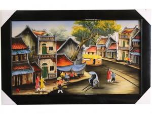 Tranh sứ Bát Tràng vẽ phố cổ Hà Nội 2 95x55cm