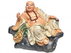 Tượng sứ Di lặc ngồi bệ đá men rạn cao 60cm rộng 70cm
