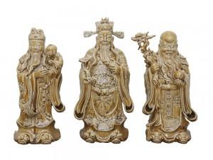 Tượng sứ Phúc Lộc Thọ men giả gỗ hóa thạch cao 60cm