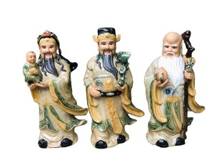 Tượng sứ Phúc Lộc Thọ men rạn cao 45cm