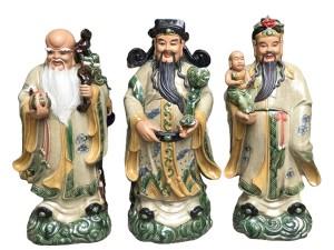 Tượng sứ Phúc Lộc Thọ men rạn cao 70cm