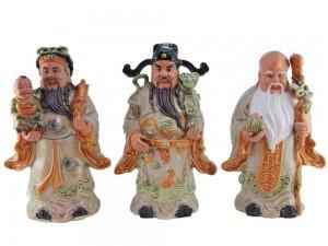 Tượng sứ Phúc Lộc Thọ men rạn cổ cao 35 cm